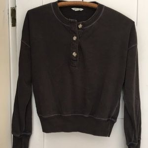 AE soft and sexy Henley crop sweatshirt